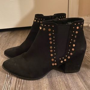 Black and gold stud booties